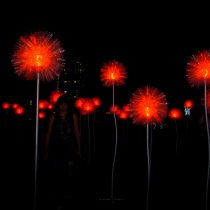 A forest made up of 90 larger than life light flowers, Olivia d'Aboville's Giant Dandelions installation is a brilliant masterpiece where people can freely walk through and take photos.