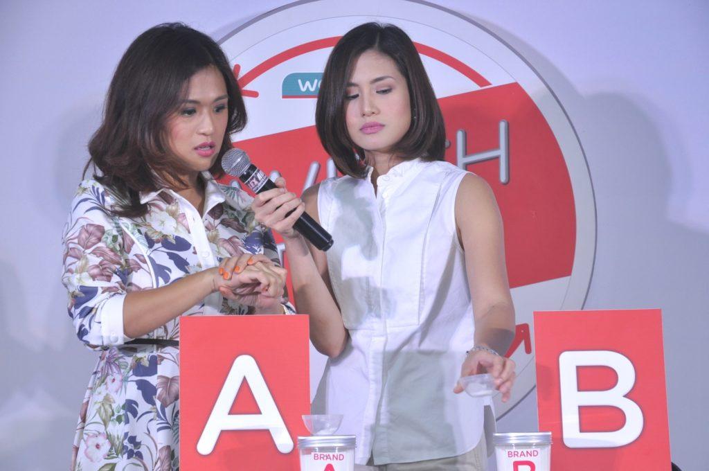 Valerie Tan test Watsons product with Host Ines Bernardo